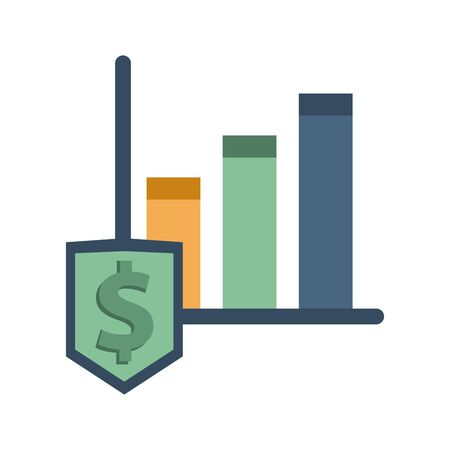 financial statistics bars graphic with dollar shield vector illustration design