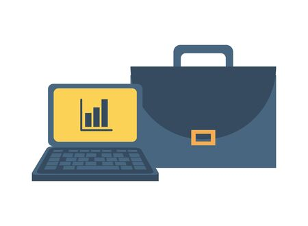 portfolio briefcase with laptop and statistics vector illustration design