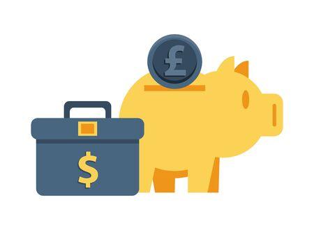 piggy savings money with portfolio and sterling pound vector illustration design Stock fotó - 134809630