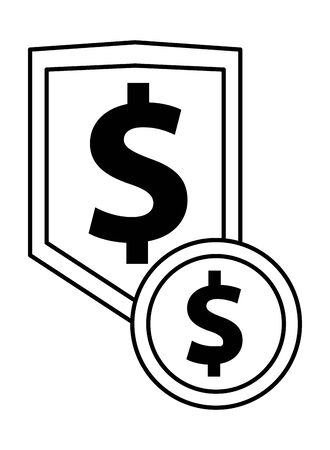 shield with dollar symbol icon vector illustration design Illusztráció