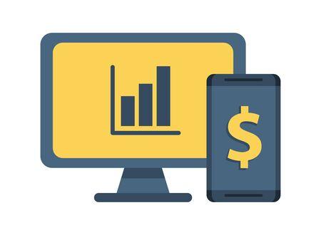 desktop with statistics bars and smartphone vector illustration design