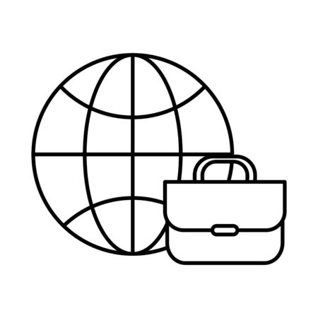 sphere browser with portfolio icon vector illustration design
