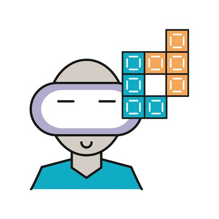 gamer with virtual reality mask vector illustration design