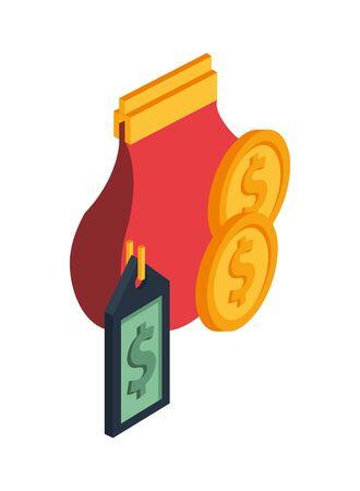 purse with coins money dollars vector illustration design Illusztráció