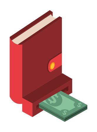 bill money with atm hole vector illustration design