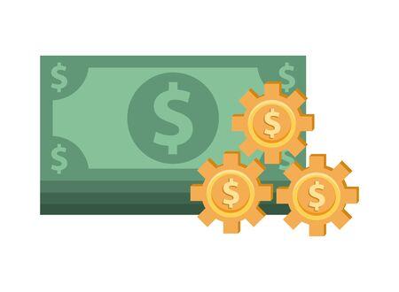 bills money with gears dollars vector illustration design Иллюстрация