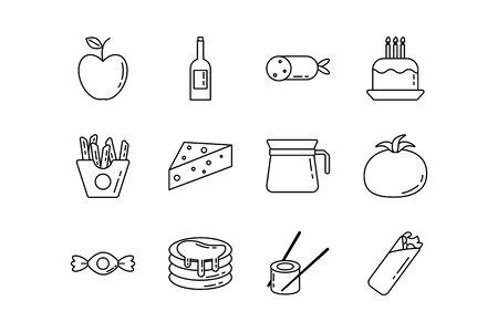 bundle of nutritive food set icons vector illustration design Foto de archivo - 134809723