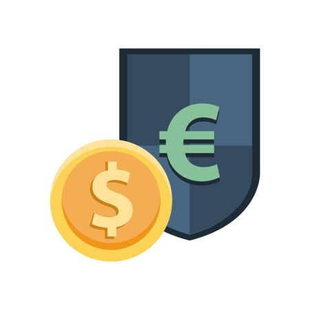 shield with euro symbol and coin dollar vector illustration design