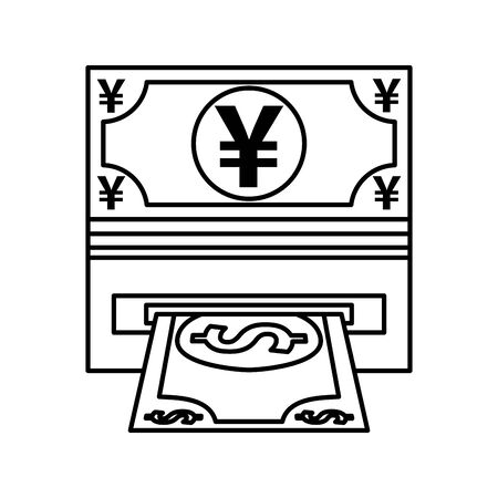 yens bills money with atm hole vector illustration design