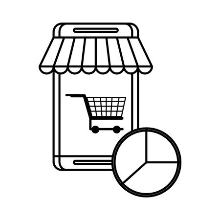 smartphone device with shopping cart vector illustration design 일러스트