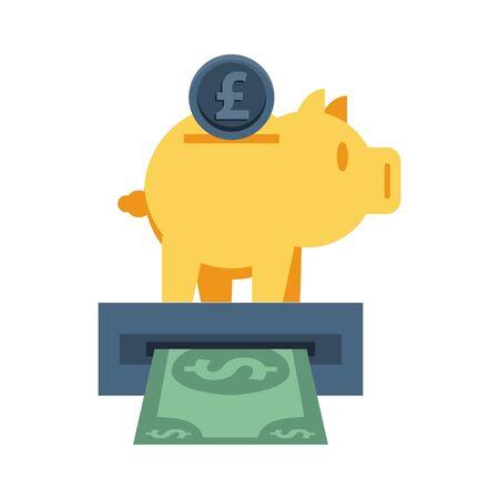 piggy savings money with atm hole vector illustration design