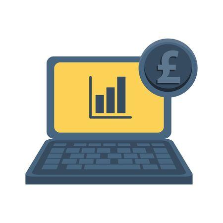 laptop computer with financial statistics and euro vector illustration design Illusztráció