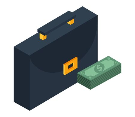 portfolio briefcase with money bills vector illustration design Stock fotó - 134808359