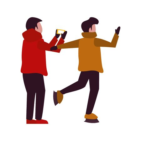 young boys with winter clothes taking picture with cellphone vector illustration design