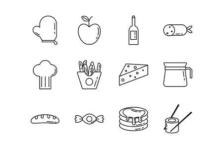 bundle of nutritive food set icons vector illustration design Foto de archivo - 134808415
