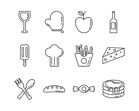 bundle of nutritive food set icons vector illustration design Foto de archivo - 134808420