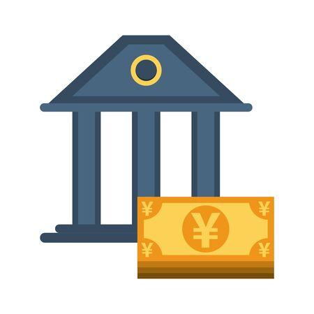 yens bills money with bank building vector illustration design