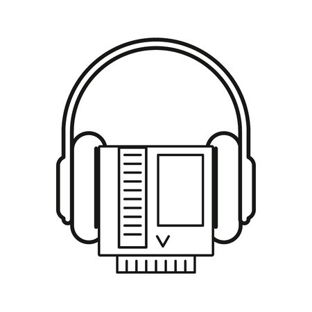 video game cartridge retro with earphones vector illustration design 向量圖像