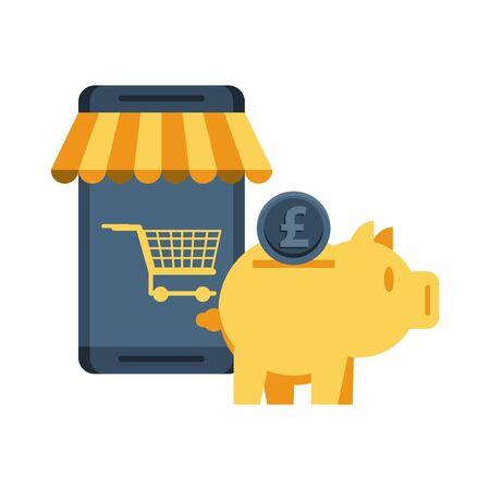 piggy savings money with smartphone ecommerce vector illustration design Ilustracja