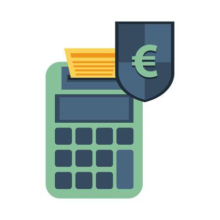 shield with euro symbol and calculator vector illustration design Illusztráció
