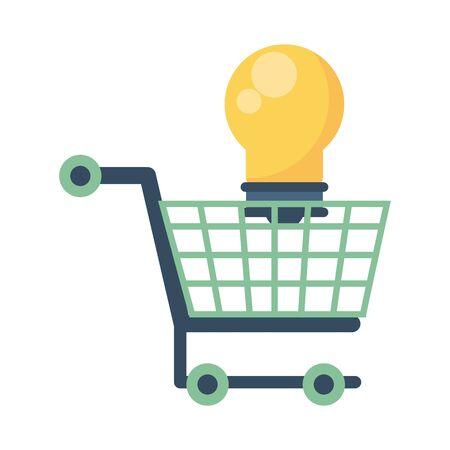 bulb light energy with shopping cart vector illustration design