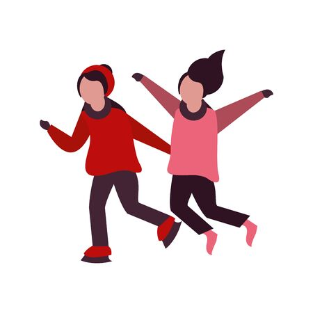 young kids with winter clothes in skates vector illustration design
