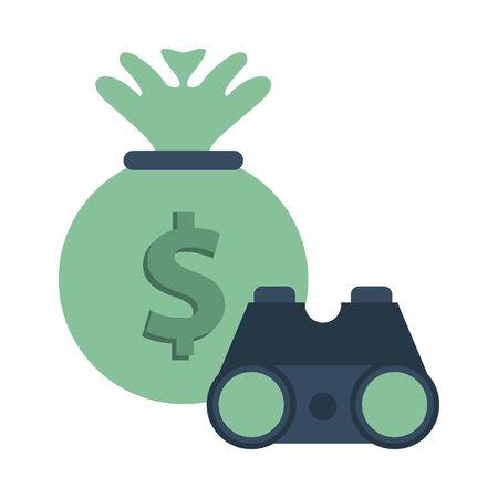 money bag with binoculars device vector illustration design