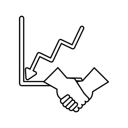 financial statistics graphic with handshake vector illustration design