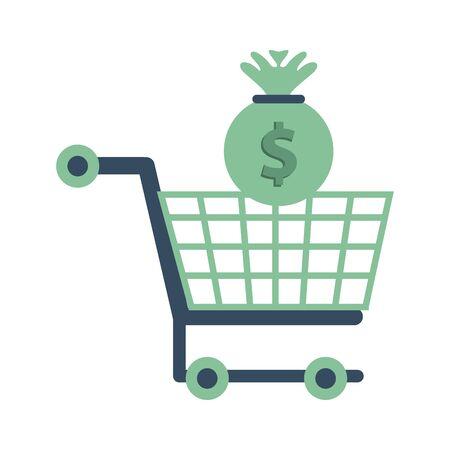 money bag with shopping cart vector illustration design Ilustracja