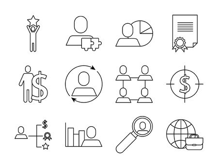 bundle of business success icons vector illustration design Ilustracja
