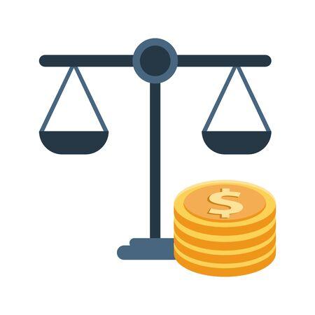 equality balance with coins dollars vector illustration design Illusztráció
