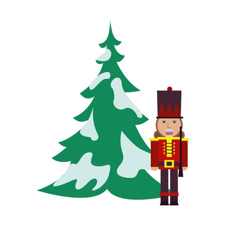 tree pine with snow and nutcracker vector illustration design Banque d'images - 134808789