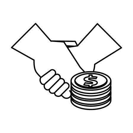 coins dollars money with handshake vector illustration design Ilustração