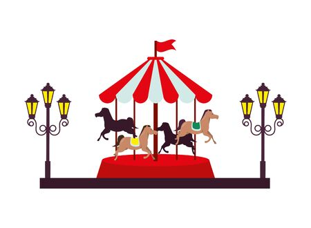 carousel park attraction isolated icon vector illustration design