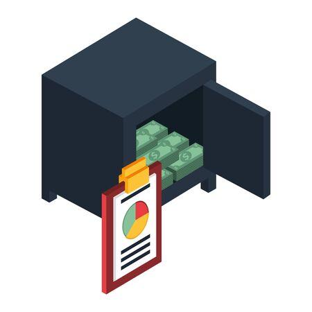 bills money with safe box vector illustration design Ilustracja