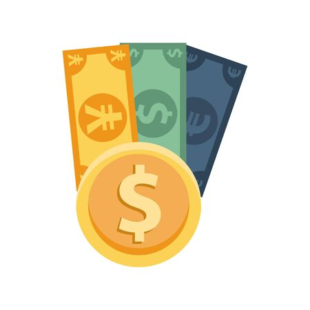 dollar with euro and yen bills vector illustration design