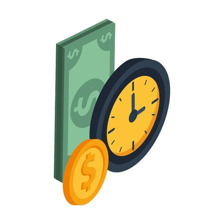 bill and coin money dollars icon vector illustration design Ilustracja