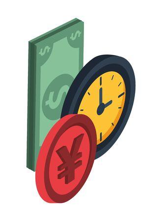 yen coin money with bills dollar and watch vector illustration design