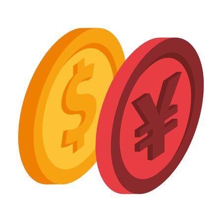 yen and dollar coins money vector illustration design