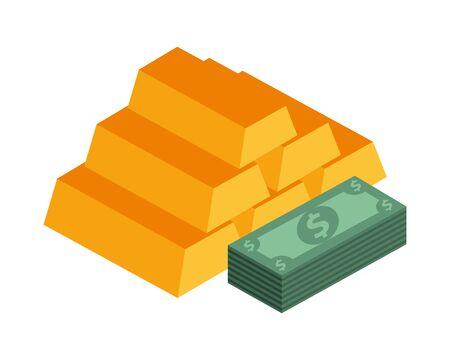 gold bullion pyramid isolated icon vector illustration design Ilustracja