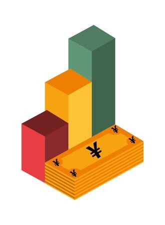 yens bills money isolated icon vector illustration design Ilustracja
