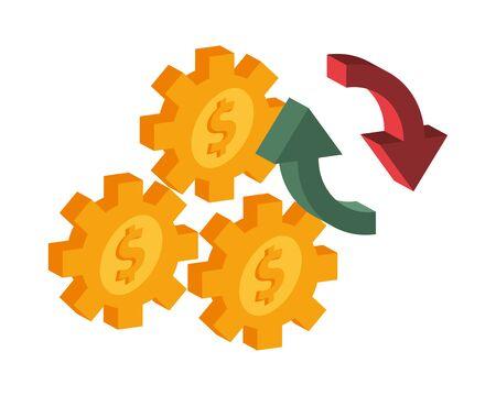 gears with money symbols icons vector illustration design Ilustração