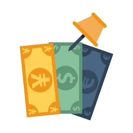 bills dollar with yen and euro money vector illustration design