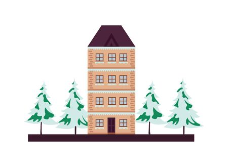 building and pines with snow winter season vector illustration design Banque d'images - 134808915