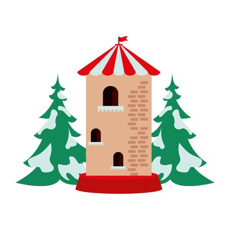 castle tower building park childish icon vector illustration design Archivio Fotografico - 134692556
