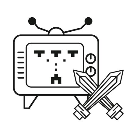 old tv with video game vector illustration design