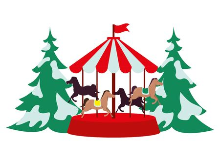 carrousel park attraction isolated icon vector illustration design Vetores