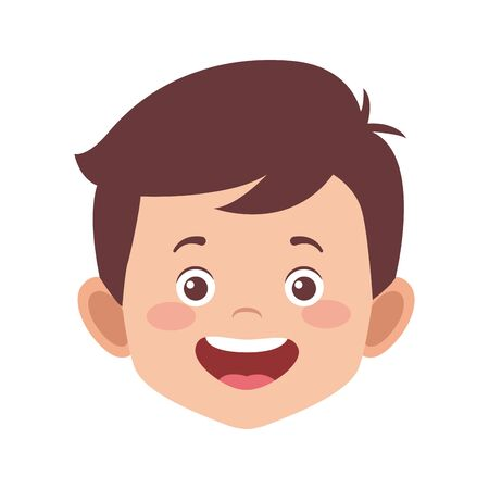 cute boy smiling icon over white background, vector illustration