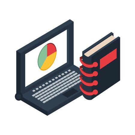 laptop computer with statistics pie and agenda vector illustration design Illusztráció