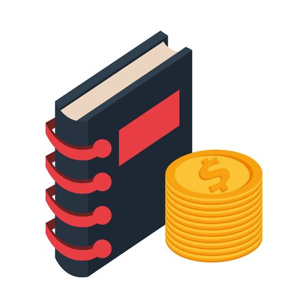 coins dollars money with agenda isolated icon vector illustration design